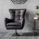 Modern leather swivel chair antique ebony