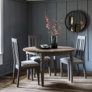 Rustic grey extending dining table round