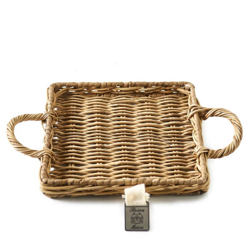 Rustic rattan mini tray square