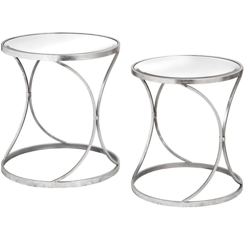Urban silver curved side tables pair