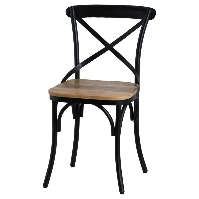 Industrial cross back black metal chair