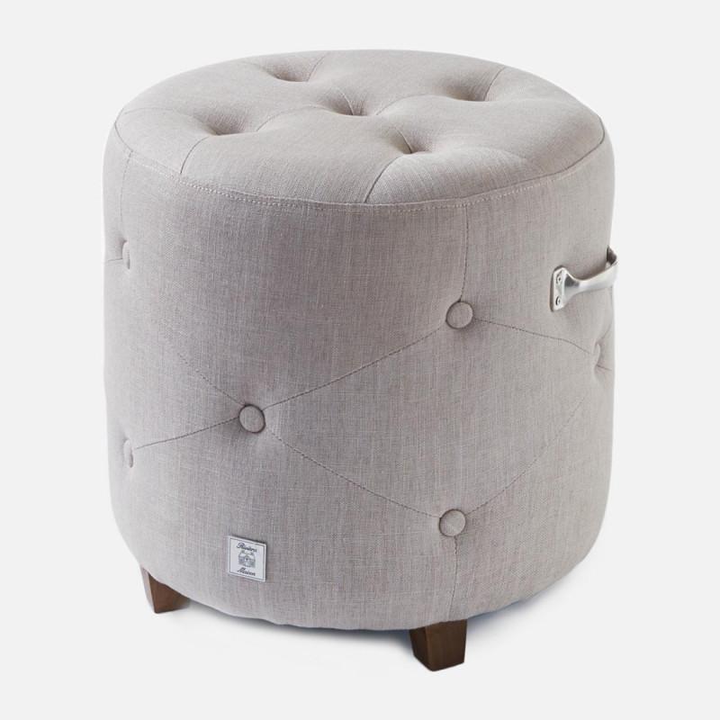 Bowery footstool linen flax