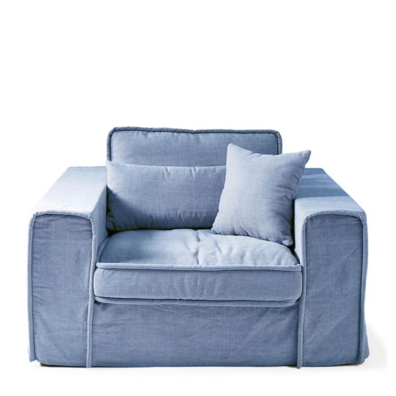 Metropolis love seat cotton ice blu