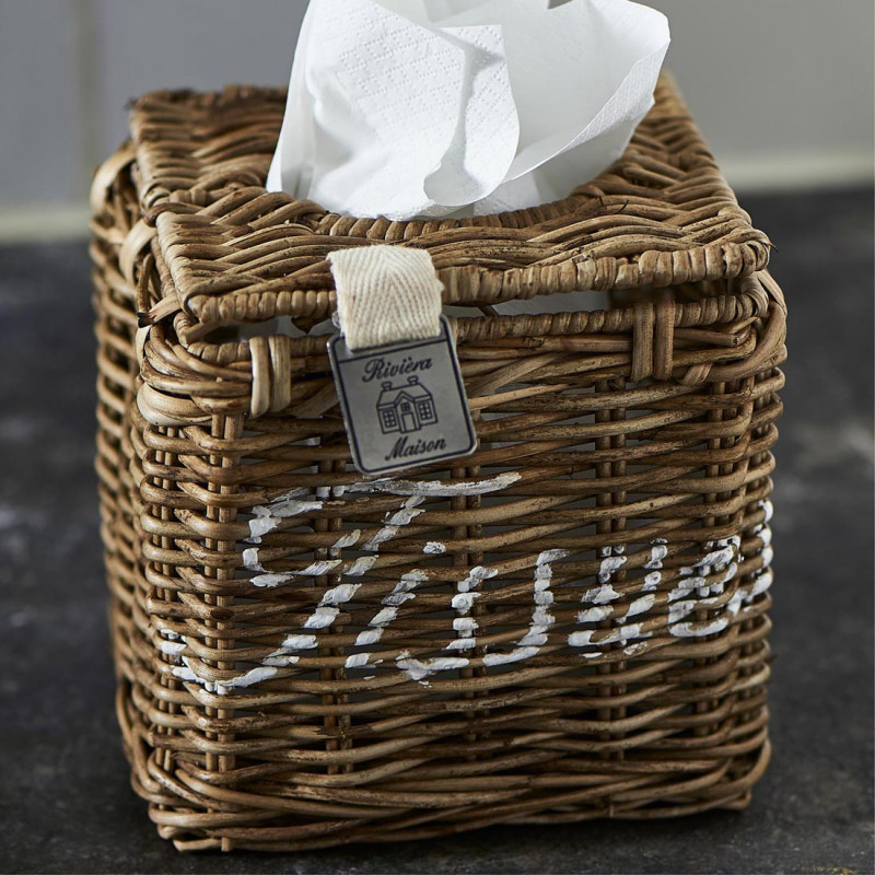 Rustic rattan tissue square box