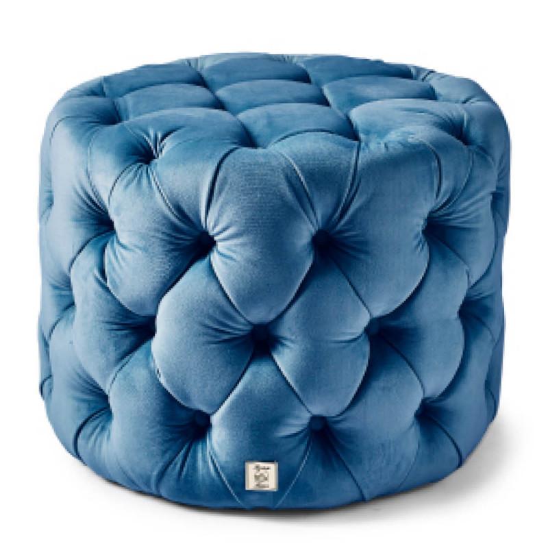 Opera footstool 55dia velv oc blue