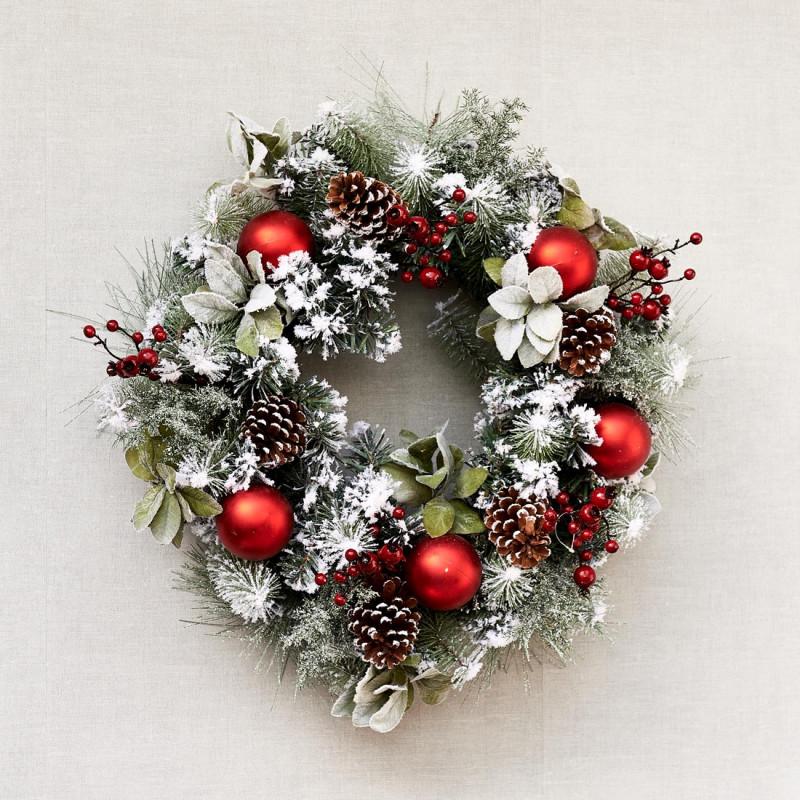 Classic ny christmas wreath 65 cm