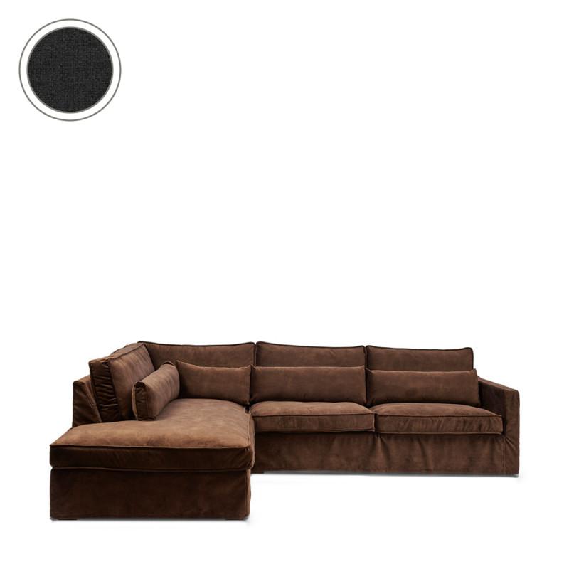 Brompton cross corner sofa chaise longue left oxford weave basic black