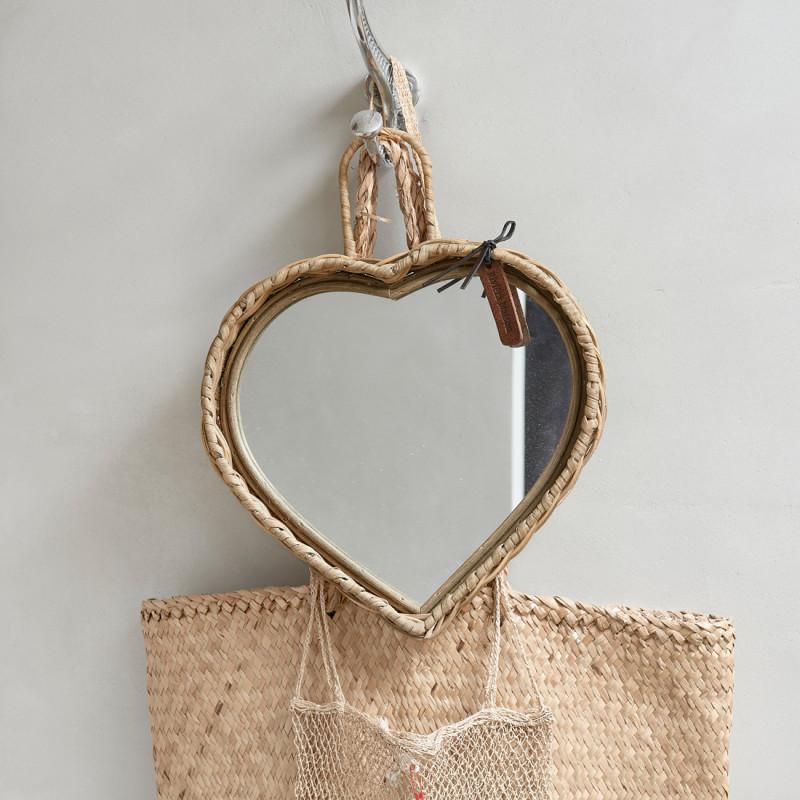 Rustic rattan heart mirror