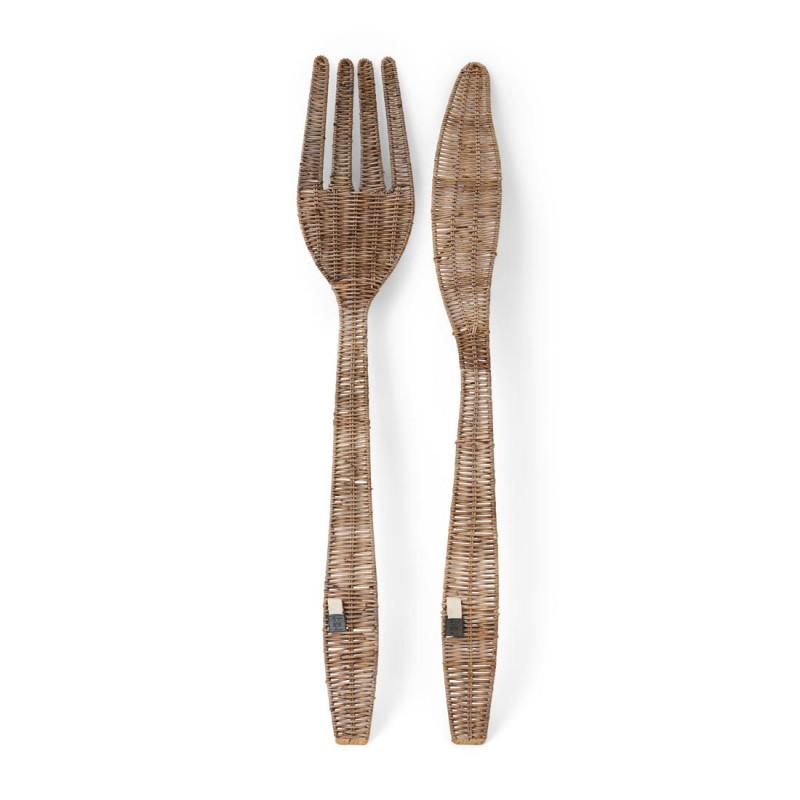 Rustic rattan cutlery
