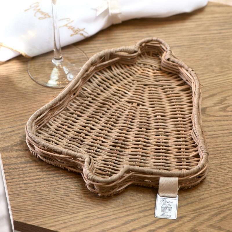 Rustic rattan bell mini tray
