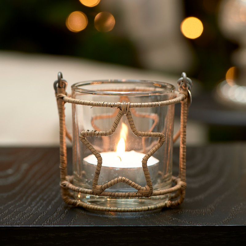 Rustic rattan christmas star votive
