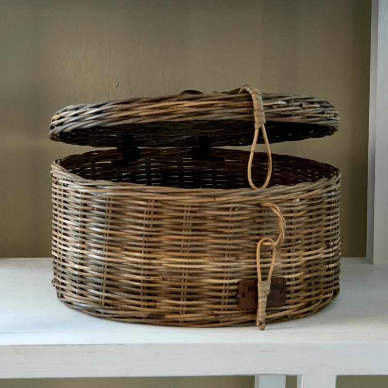 Rustic rattan box round m