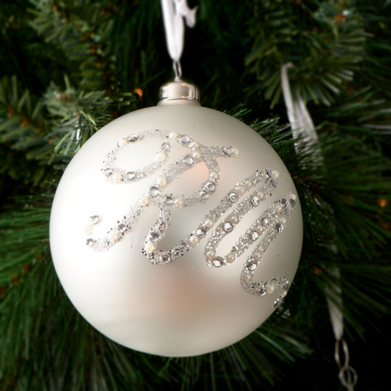 Glittering rm ornament white dia 12