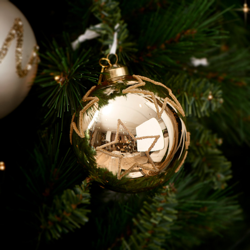 Christmas star ornament gold dia 10