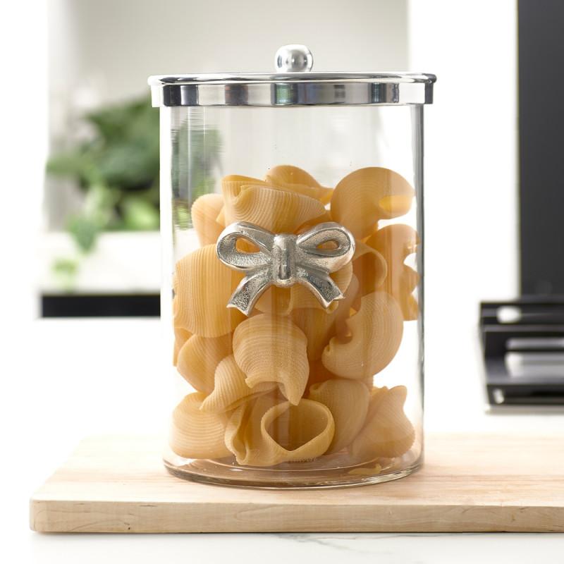 Ribbon metal storage jar
