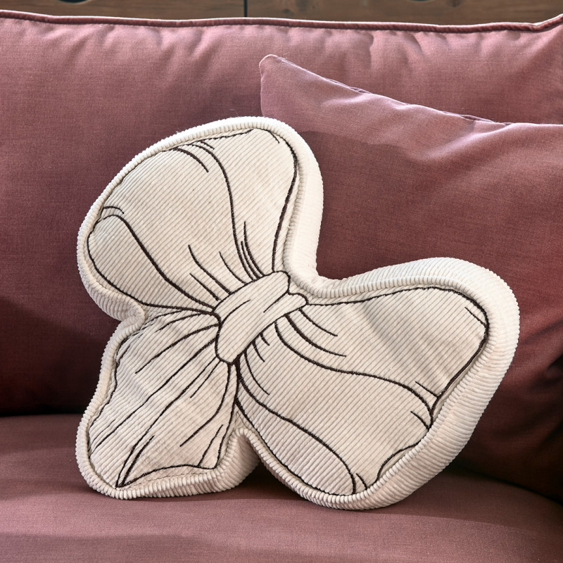 Ballad mauve bow pillow white
