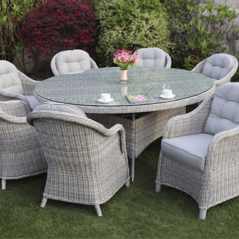 Sepino 8 seater round set grey