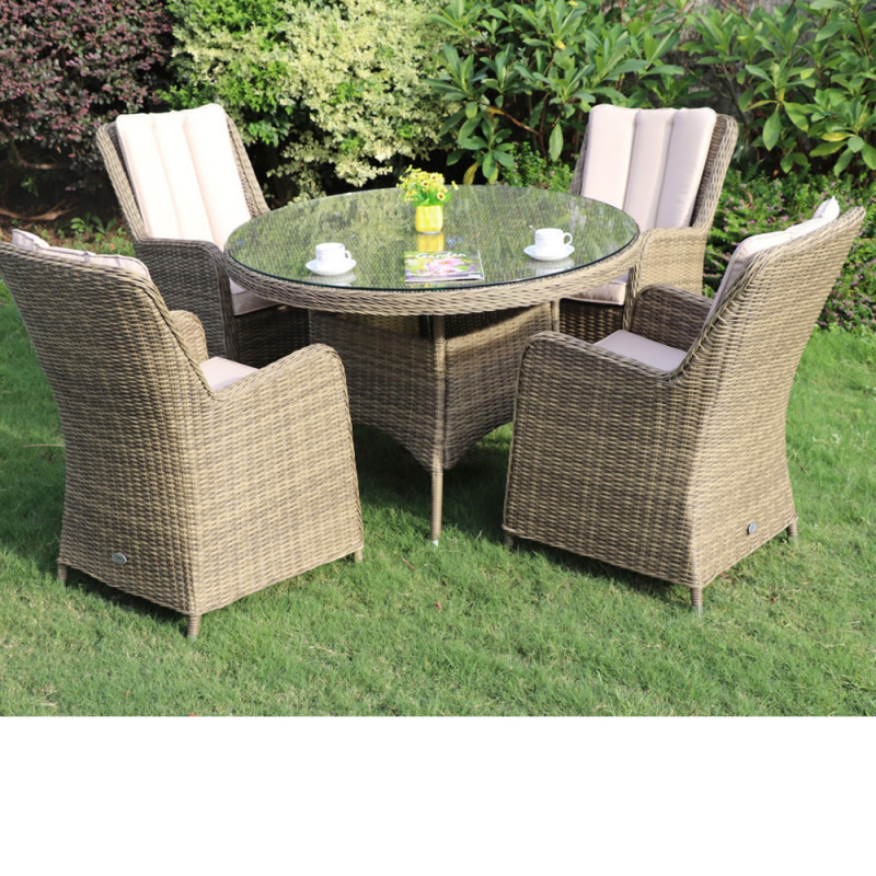 Verona 4 seater round set natural
