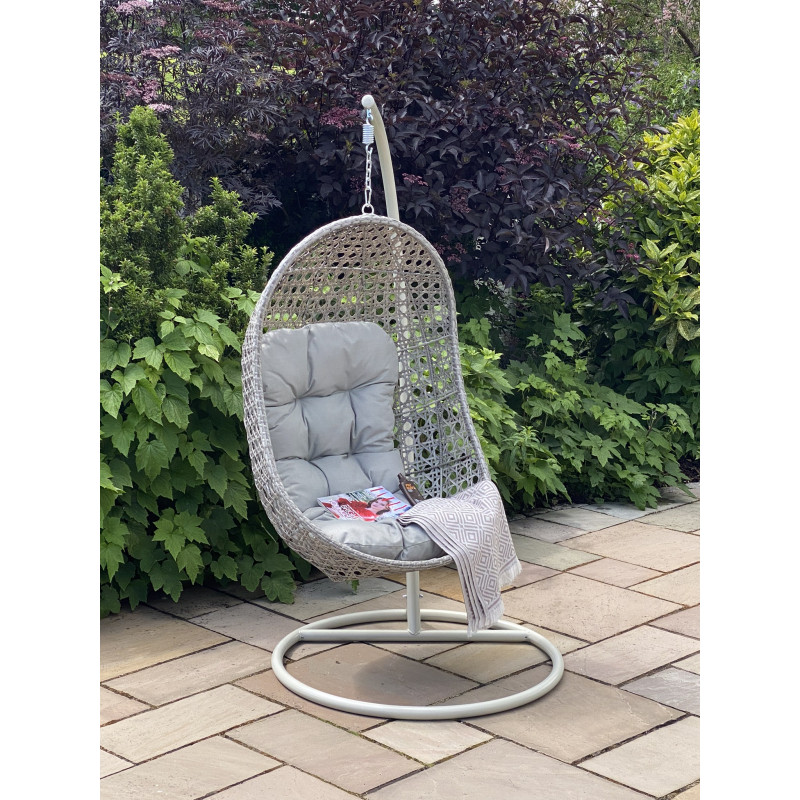 Single pod hanging chair grey