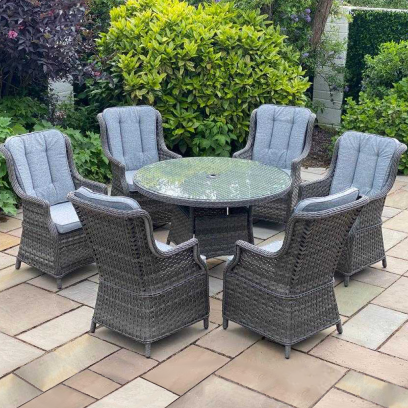 Boston 6 seater round set dark grey