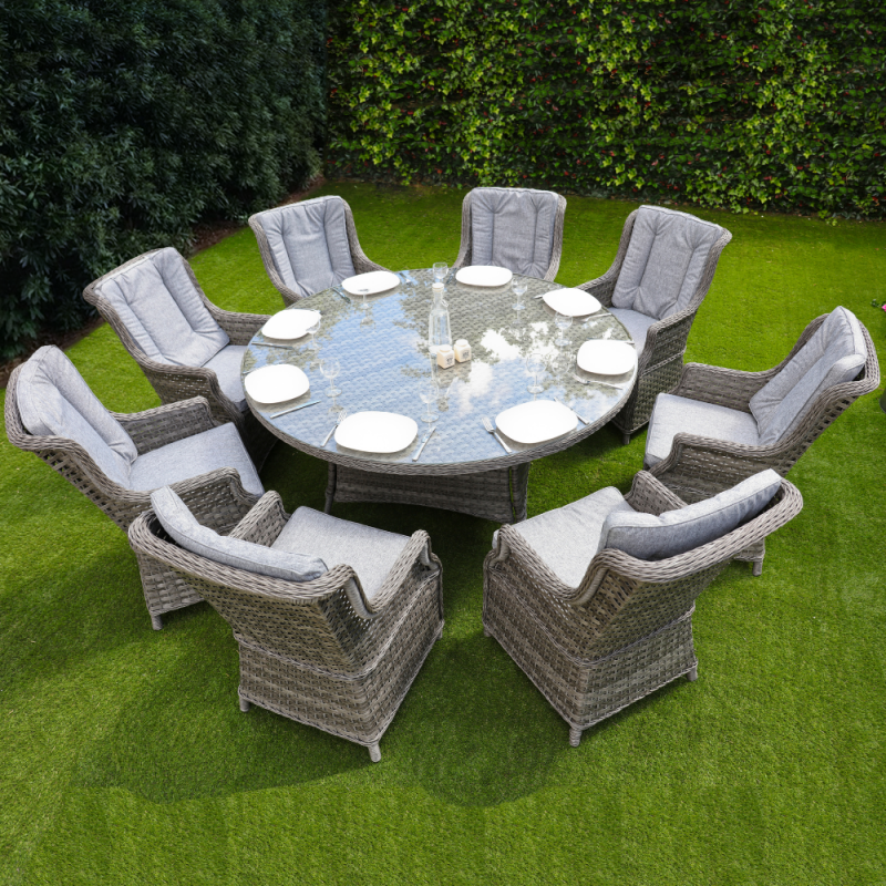 Boston 8 seater round set dark grey