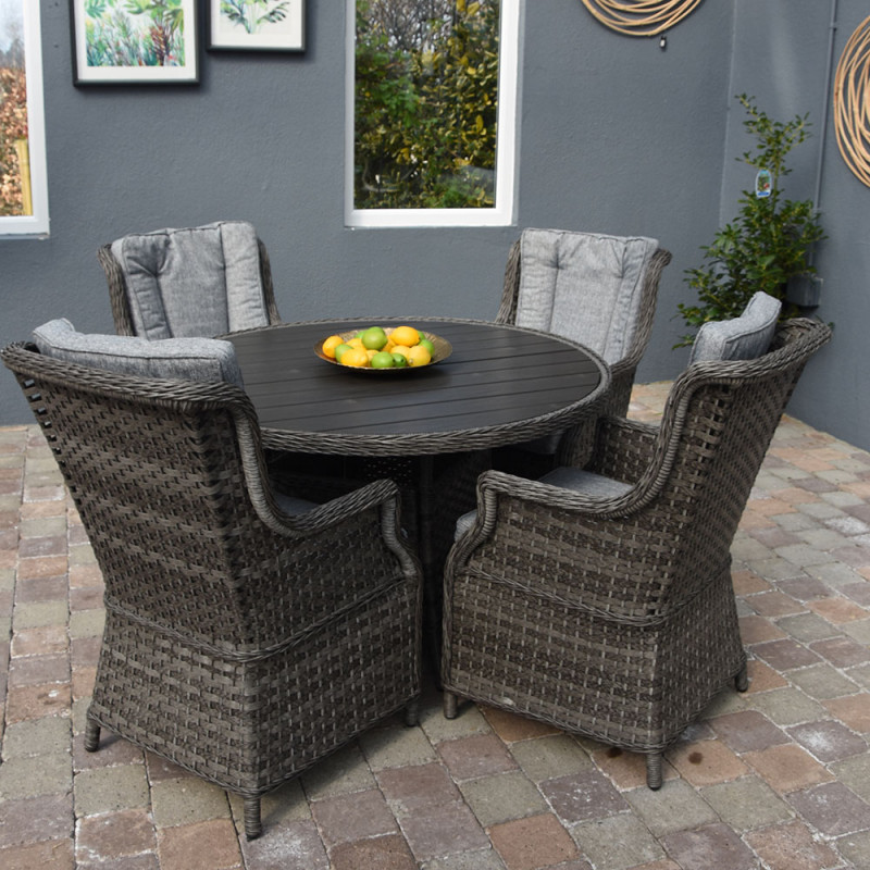 Boston 4 seat round set polywood dark grey