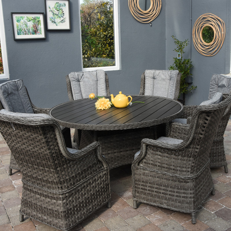 Boston 6 seat round set polywood dark grey