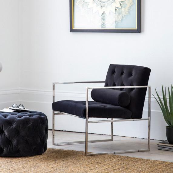 Modern armchair jet velvet