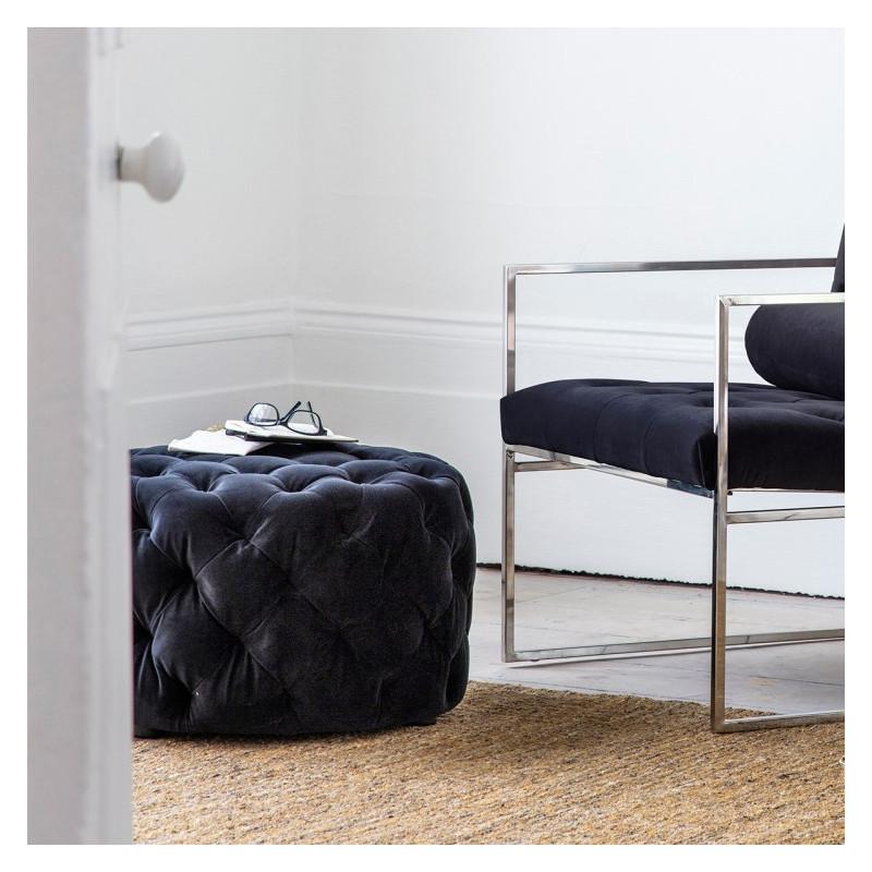 Modern footstool jet velvet