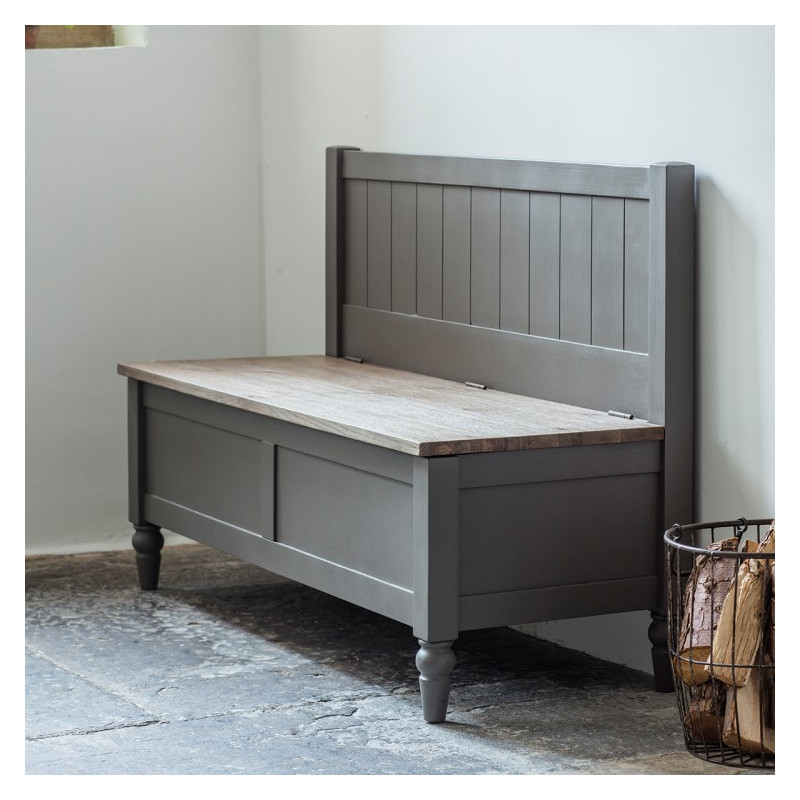 Rustic grey hall bench