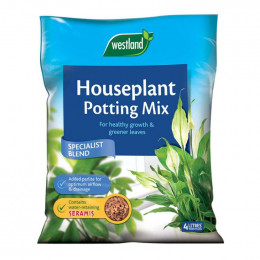 Houseplant potting mix enriched with seramis