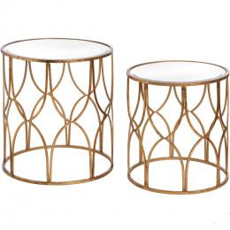 Vintage lattice detail gold side tables pair