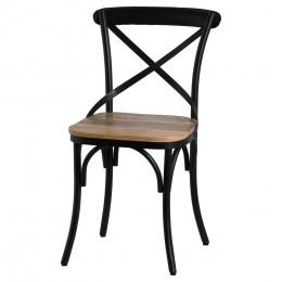 Industrial cross back black metal chair