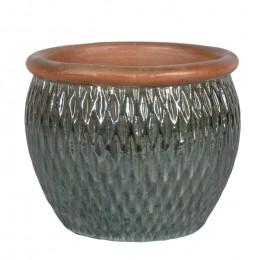 Dortmund 2 03ma squat round pottery diamond planter misty green 28cm dia