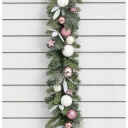 6ft ball garland pink white