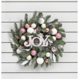 24 ball joy wreath pink white