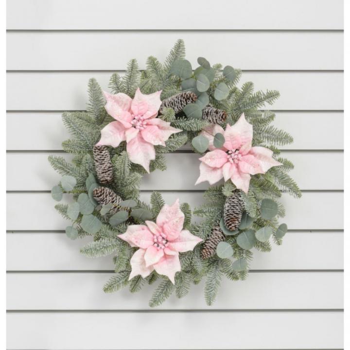 24 poinsettia w pine wreath pink6