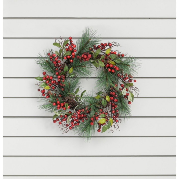20 red berry pine wreath