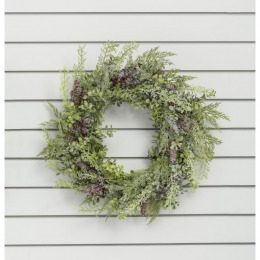 24 frosted mix leaf berry wreath