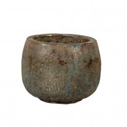Melbourne 1 02ad squat round pottery planter grey brown 35cm dia
