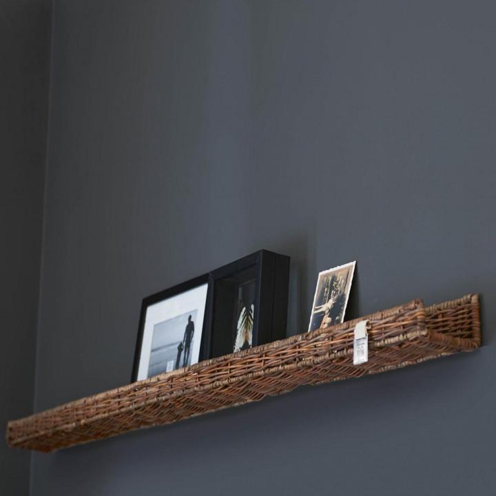 Rustic rattan wall decoration shelf 115 cm