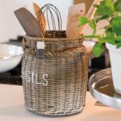 Rustic rattan utensils pot