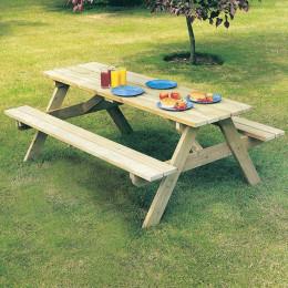 Alexander rose pine woburn garden picnic table 6ft