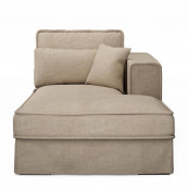 Metropolis chaise longue right washed cotton natural