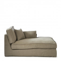 Metropolis chaise longue right washed cotton stone