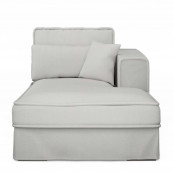 Metropolis chaise longue right washed cotton ash grey