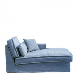 Metropolis chaise longue right washed cotton ice blue