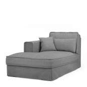 Metropolis chaise longue left washed cotton grey