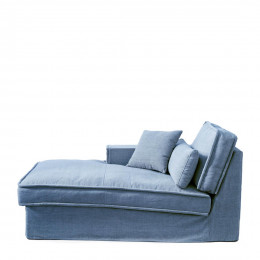 Metropolis chaise longue left washed cotton ice blue
