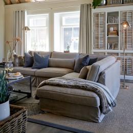 Brompton cross corner sofa chaise longue right washed cotton stone